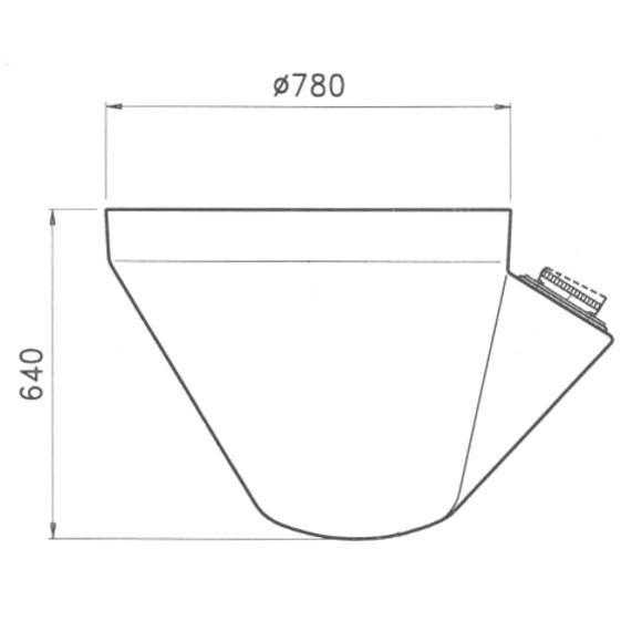 Dimensioni terminale silos per coclea inclinata 75 gradi